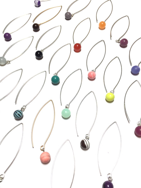 colorful long drop earrings