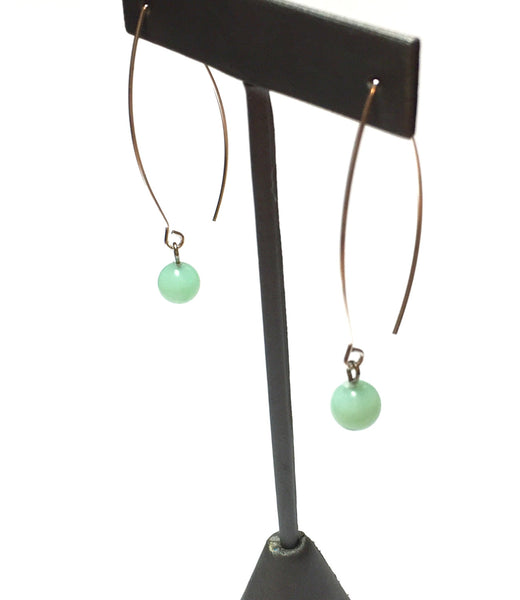 long mint green drop earrings