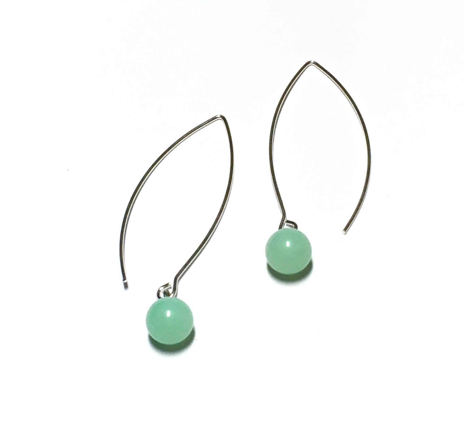 mint green long earrings