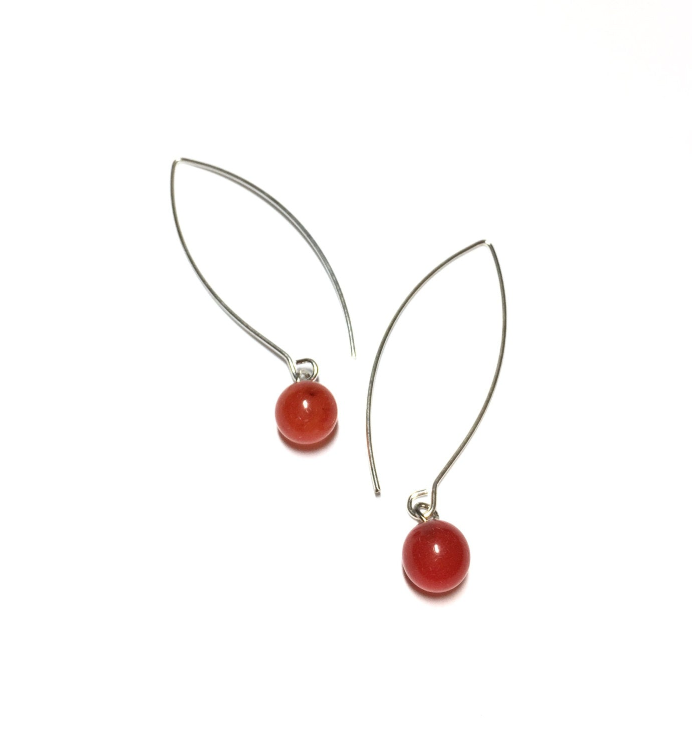 tomato red raindrop earrings
