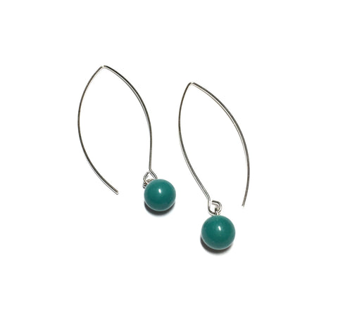 dark teal raindrop earrings