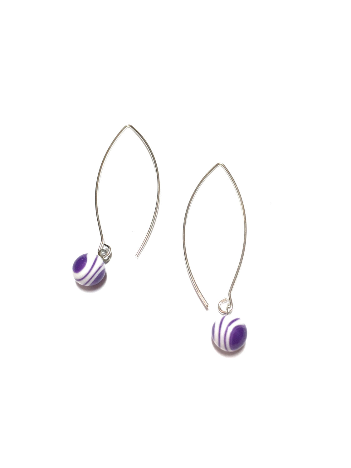 purple stripe raindrop earrings