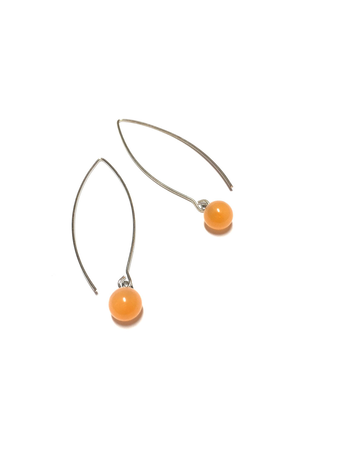 peach long earrings