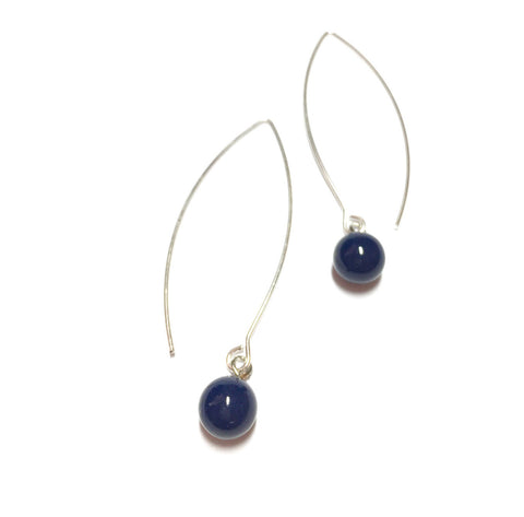 navy raindrop earrings