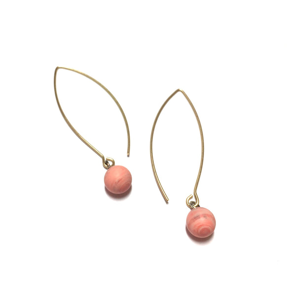 long pink drop earrings
