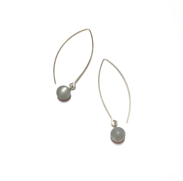 light grey long drop earrings