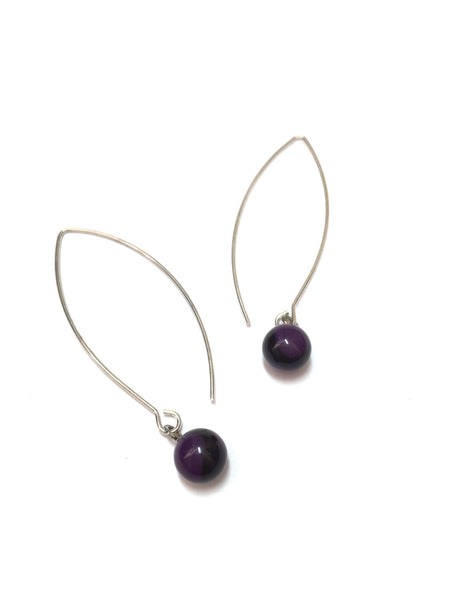 black purple raindrop earrings