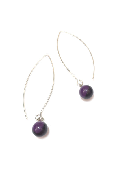 long gold earrings purple