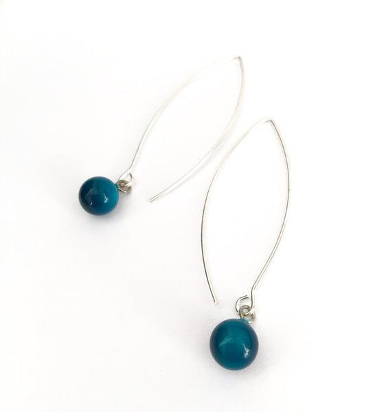teal moonglow long earrings
