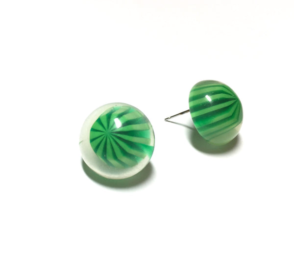 green retro button earrings