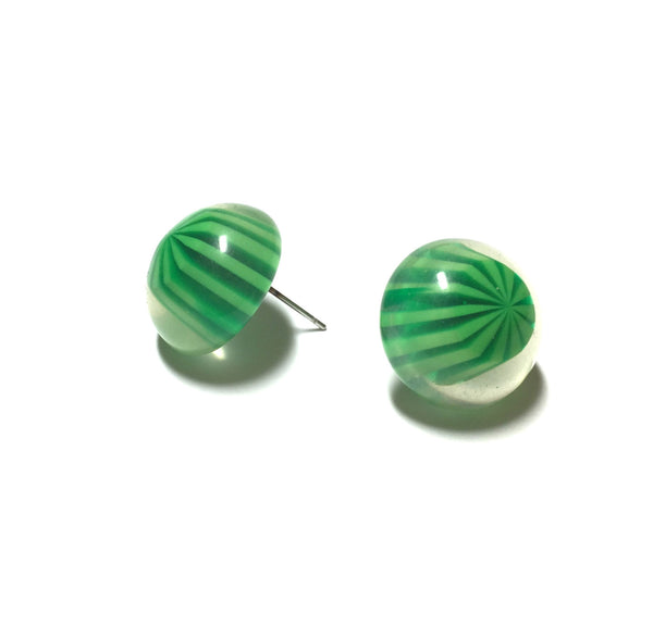 green stripe stud earrings