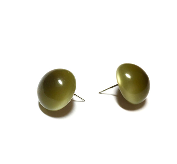 drab green post earrings