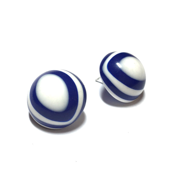 navy blue white earrings