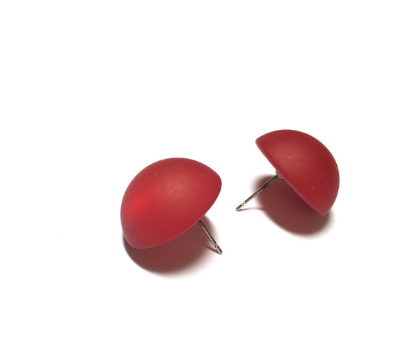 red retro button earrings