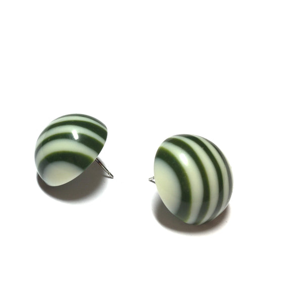 green ivory stud earrings