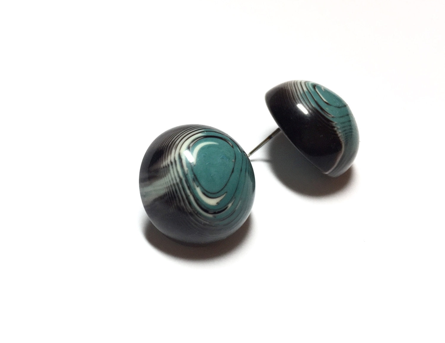 blue black button earrings