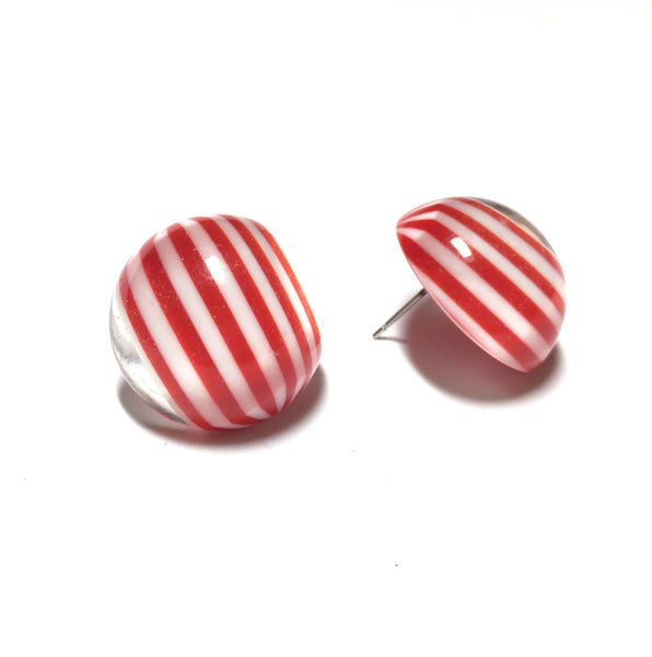 red white retro button earrings