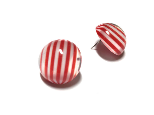red white button studs
