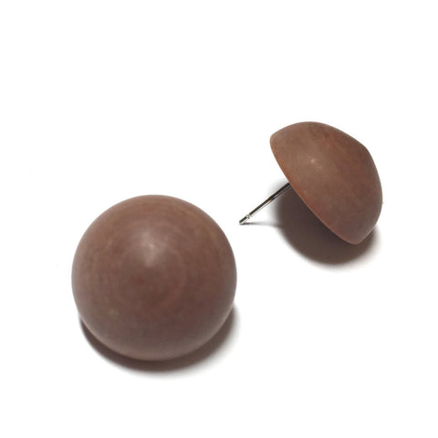 brown retro button studs