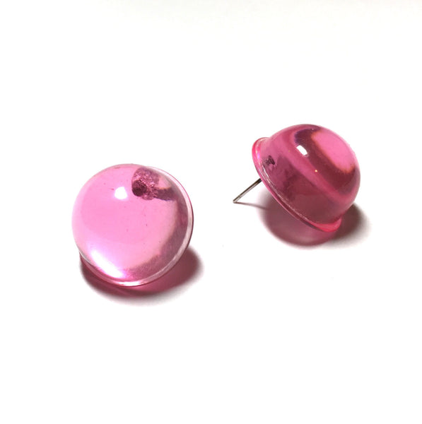 bright pink button earrings
