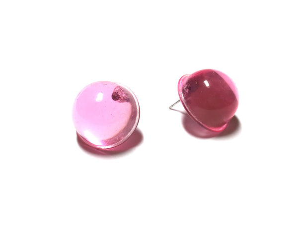 pink transparent earrings