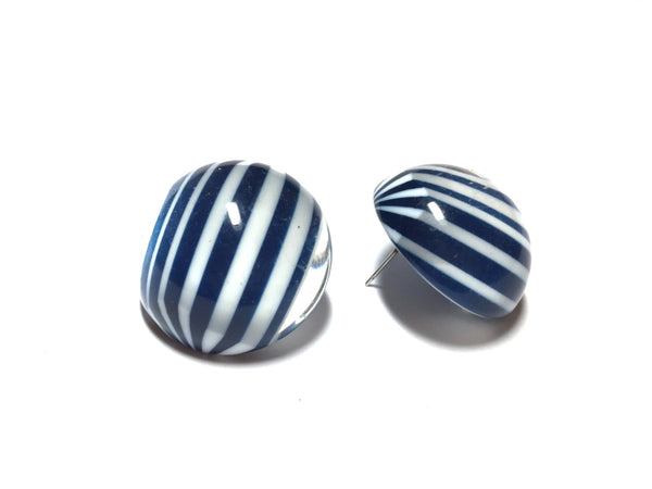 Navy Blue and White Earrings | Vintage Lucite Stripe Retro Button Statement Stud Earrings