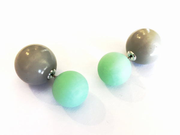 green grey double sided earrings