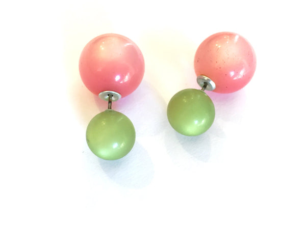 green pink double sided earrings