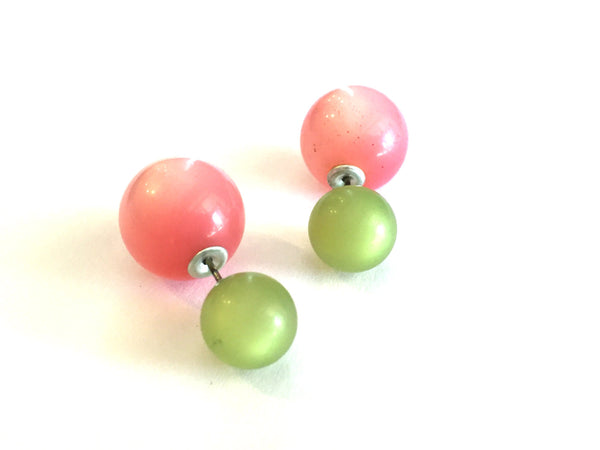 lime green double sided studs