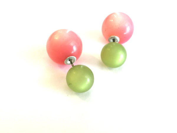 green pink 2 sided earrings