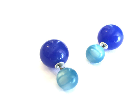 blue 2 sided earrings