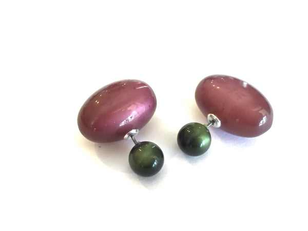 double earrings green purple
