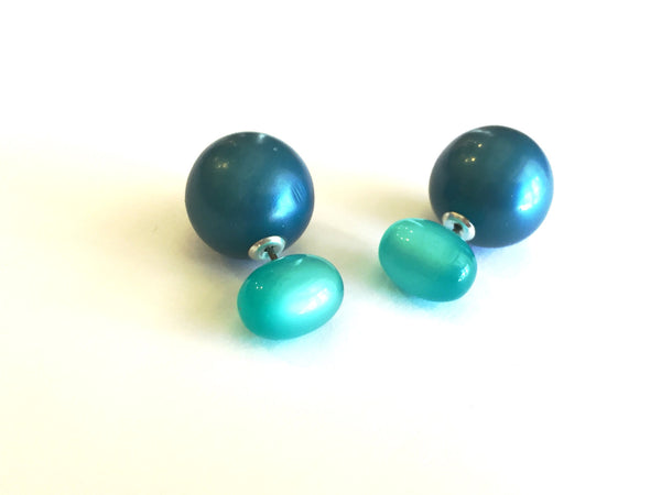 Aqua and Blue Pearl 2 Sided Stud Earrings | vintage lucite moonglow double studs