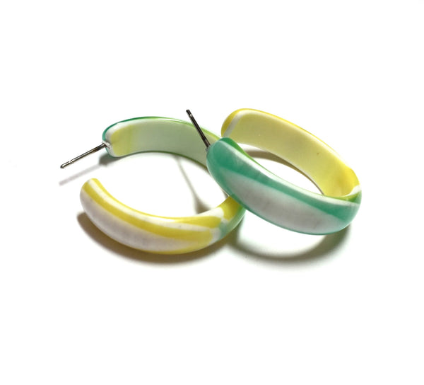 mint yellow hoops