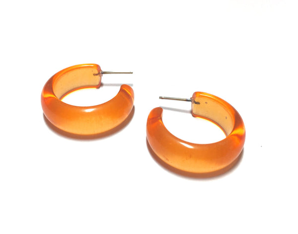 vintage lucite orange hoops