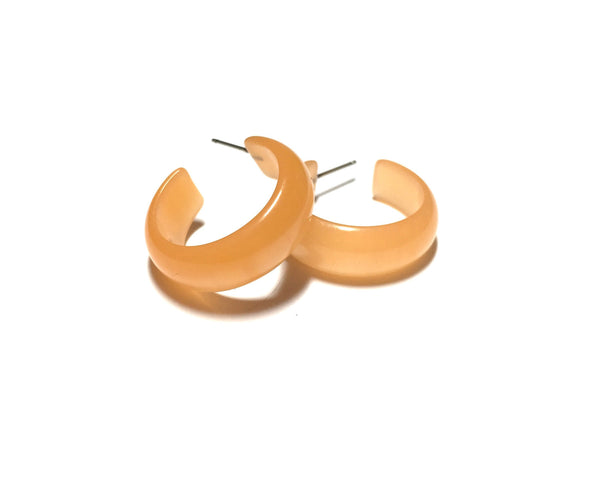 lucite peach hoop earrings