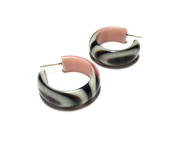 marbled pink brown earrings