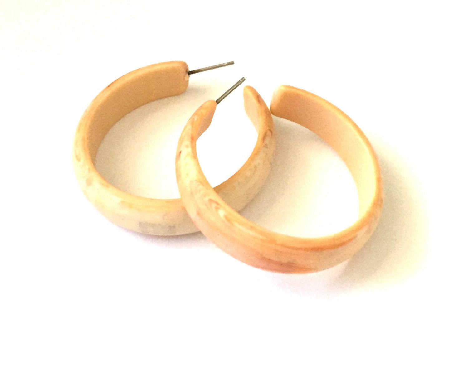 marbled ivory midi hoops