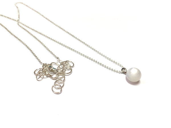 white chain necklace