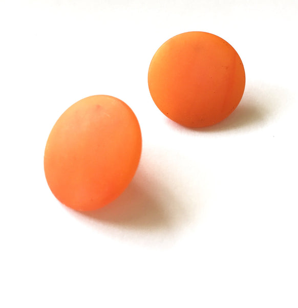 orange disc earrings