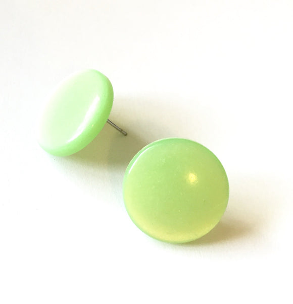 pastel green moonglow earrings