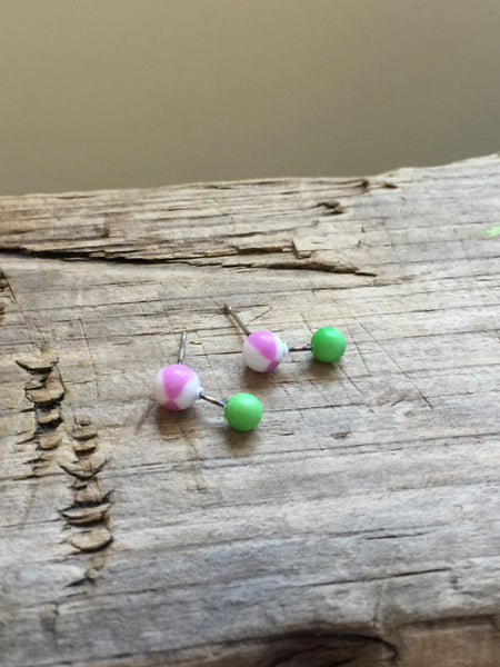green lilac stud earrings