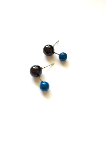tiny black blue stud earrings