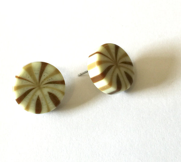 tan stripe earrings