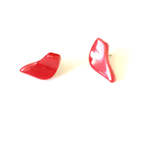 cherry red bird earrings