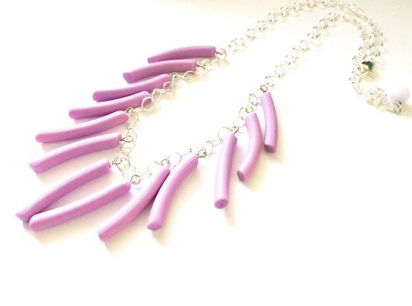 Light Orchid Fringe Necklace | vintage lucite drop statement necklace