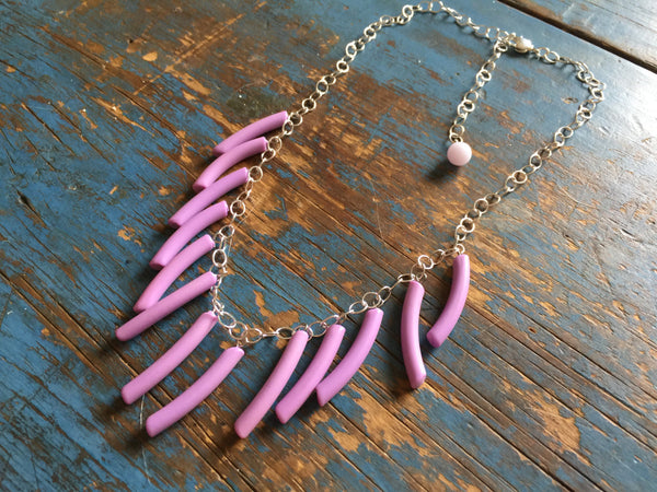 light purple fringe necklace