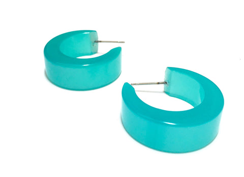 teal moonglow hoops
