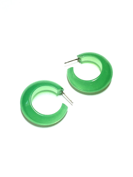 green lucite pinched hoops