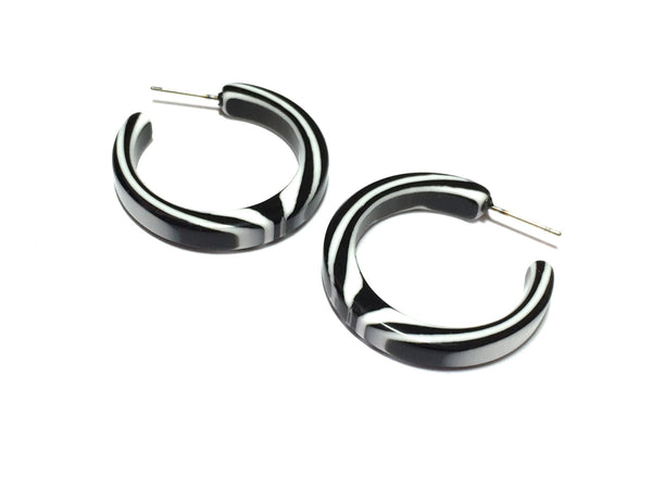 black white lucite hoops